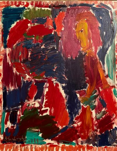 ALECHINSKY Pierre Rectangle classique huile sur toile signée et datée en bas à gauche 1989 55 x 46
