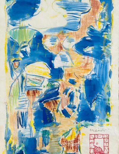 ALECHINSKY Pierre acrylique papier marouflé sous verre signée et datée 8 mars 1999 en bas à droite 95 x 62