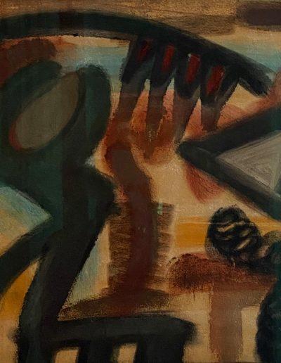 ATLAN Jean Michel Sans titre 1954 huile sur papier marouflée sur isorel signée et datée en bas à gauche 38 x 46