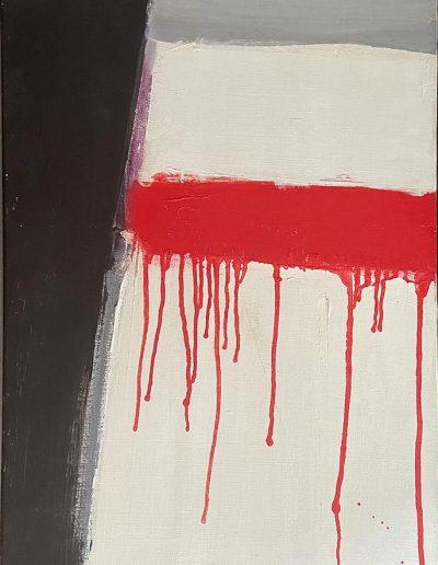 FICHET Pierre Composition 1968 ( série destableaux sangllants ) huile sur toile signée en bas à gauche contresignée et datée au dos 55 x38.