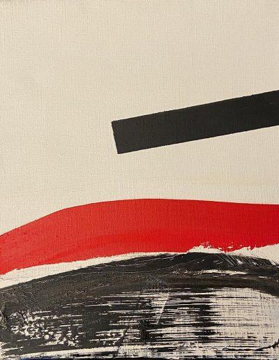 FICHET Pierre Composition vers 1968 (série des tableaux sanglants) huile sur toile signée au dos 27 x 22.