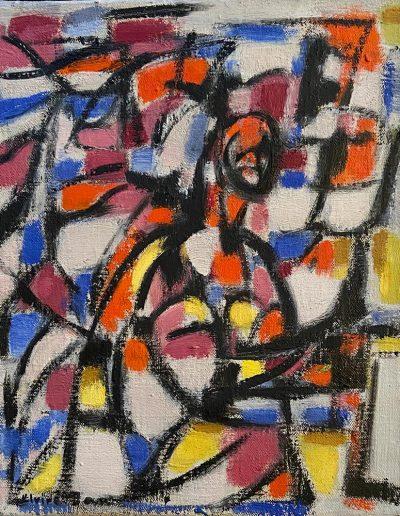 JAN Elvire Abstraction huile sur toile signée en bas à gauche 22 x 22.